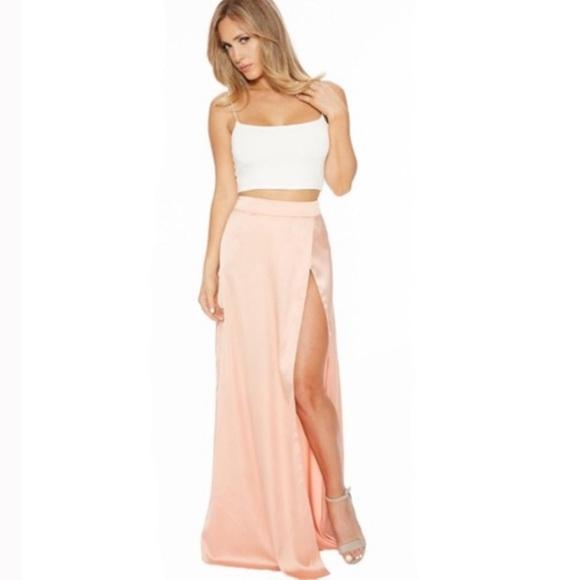 Naked Wardrobe silky high slit maxi skirt, size L